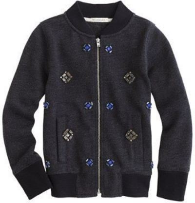 This  J.Crew GIRLS' JEWELED BOMBER JACKET  is a juxtaposition of soft and sporty fleece meets shiny jewels. Your little one shouldn't have to choose between tomboy and girly-girl.