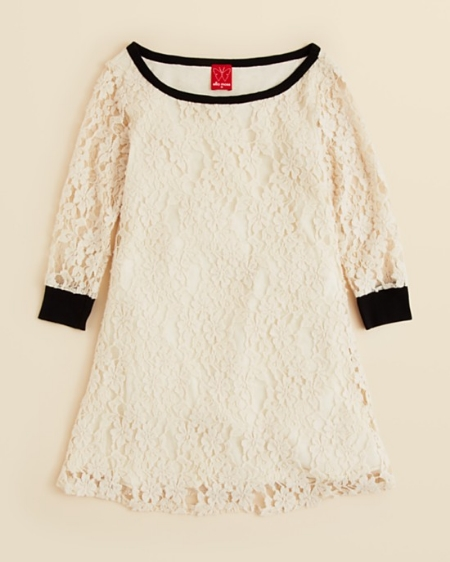 This  Ella Moss Girls' Rebekkah Lace Dress  is an enchanting Dress with a lovely floral Lace overlay and modern black neck and sleeve trim (this dress is a mini version of the Erdem one above).