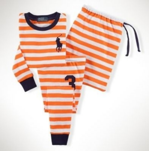 These  Ralph Lauren Cotton Striped Rugby Sleep Set  will keep your little one cozy and cool with a sporty striped long-sleeved shirt with the Ralph Lauren signature embroidered Big Pony at the chest and a coordinating pant.