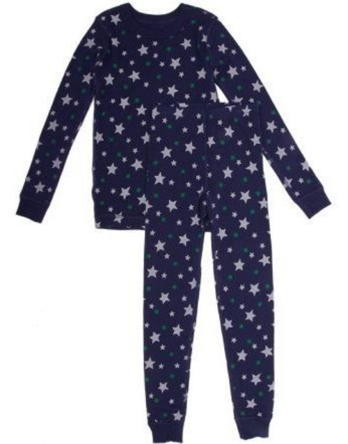 These  SKYLAR LUNA Star-Print Sleep Set  have a blue star-print on organic cotton rib, and are eco-friendly sleepwear for the trendsetters of tomorrow.