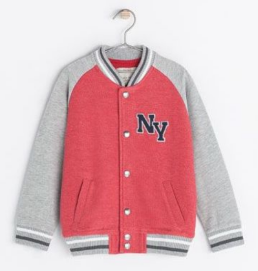"""This  Zara JACKET WITH A PATCH ON THE FRONT is a boys jacket, but would be just as cool and cute on a girl. It has traditional varsity details with snaps at the front, """"NY"""" embroidered patch at left chest, and striped ribbed neckline, cuffs and hem."""