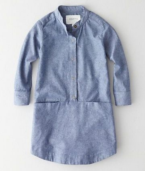 This  Steven Alan Mono Lake Dress is a snap front, chambray shirtdress in a relaxed cut with a mandarin collar and front slit pockets. It too is made in USA!