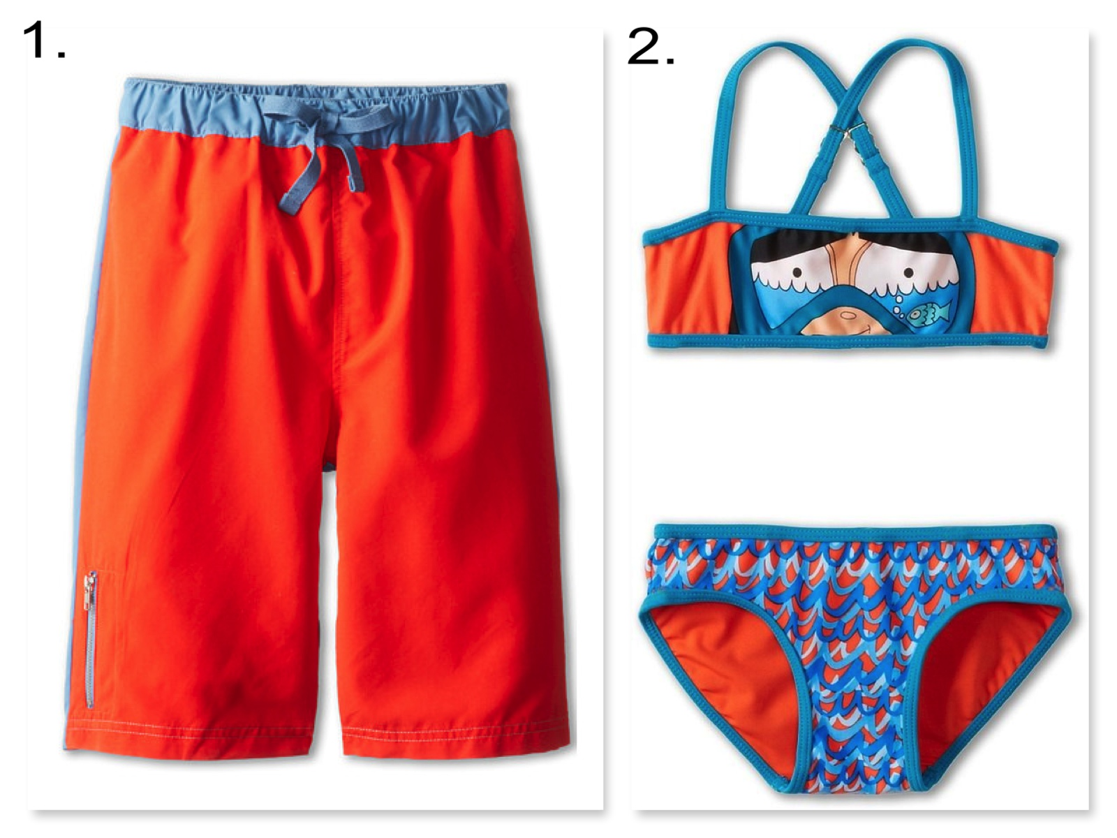 Your little ones will be colorful cuties in these hot lava & turquoise fun color block & girl's snorkeling Swimsuits.  1. Appaman Kids Contrast Colorblock Swim Trunks  | 2. Little Marc Jacobs Bandeau Top & Classic Bottom Bikini Set