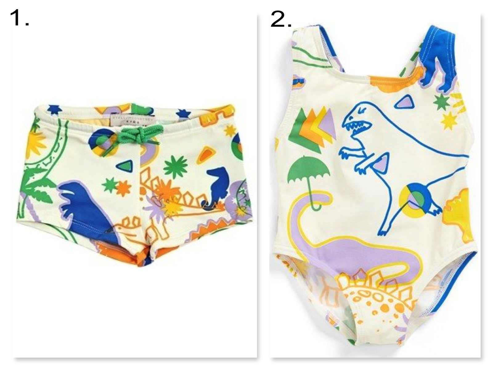 Your little ones will look and stay cool in these matching dinosaur print Swimsuits.   1. STELLA MCCARTNEY KIDS DINOSAUR PRINTED SWIM SHORTS  | 2. Stella McCartney Kids 'Imogen' One-Piece Swimsuit