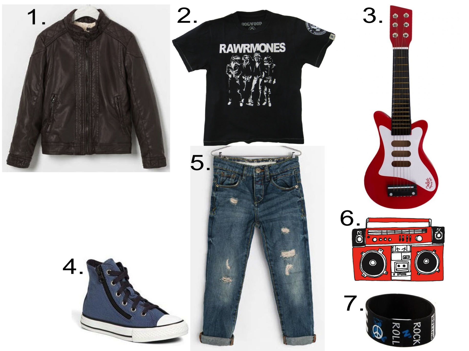 A cute outfit for your future Rawrmone!  1.  Zara FAUX LEATHER JACKET  |2.  Dogwood Rawrmones Tee |3. Vilac Red Wooden Guitar |4. Converse Chuck Taylor® All Star® High-Top Sneaker  |5.  Zara RIPPED DENIM TROUSERS |6.  Tattly MINI STEREO Temporary Tattoo |7. KIDS TEDDY BEAR ROCK N' ROLL BUTTER BRACELET