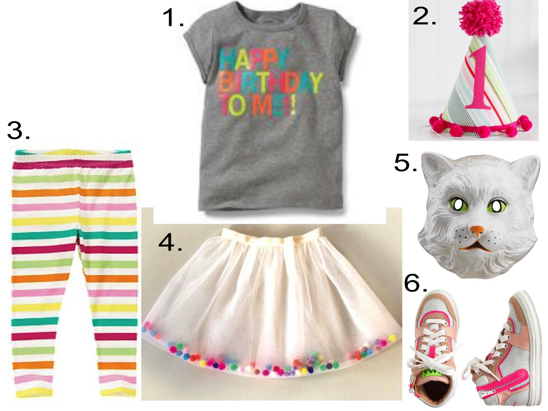 This Cute Birthday Tutu is DIY!  1.  Carter's Happy Birthday Tee |2.  PaisleyHandmade Girls Party Hat |3.  Crazy8 Stripe Leggings |4.  MoodKids Pompom DIY tutu |5.  Disguise Child White Cat Mask  |6.  J.Crew KIDS' MAA™ HIGH-TOPS