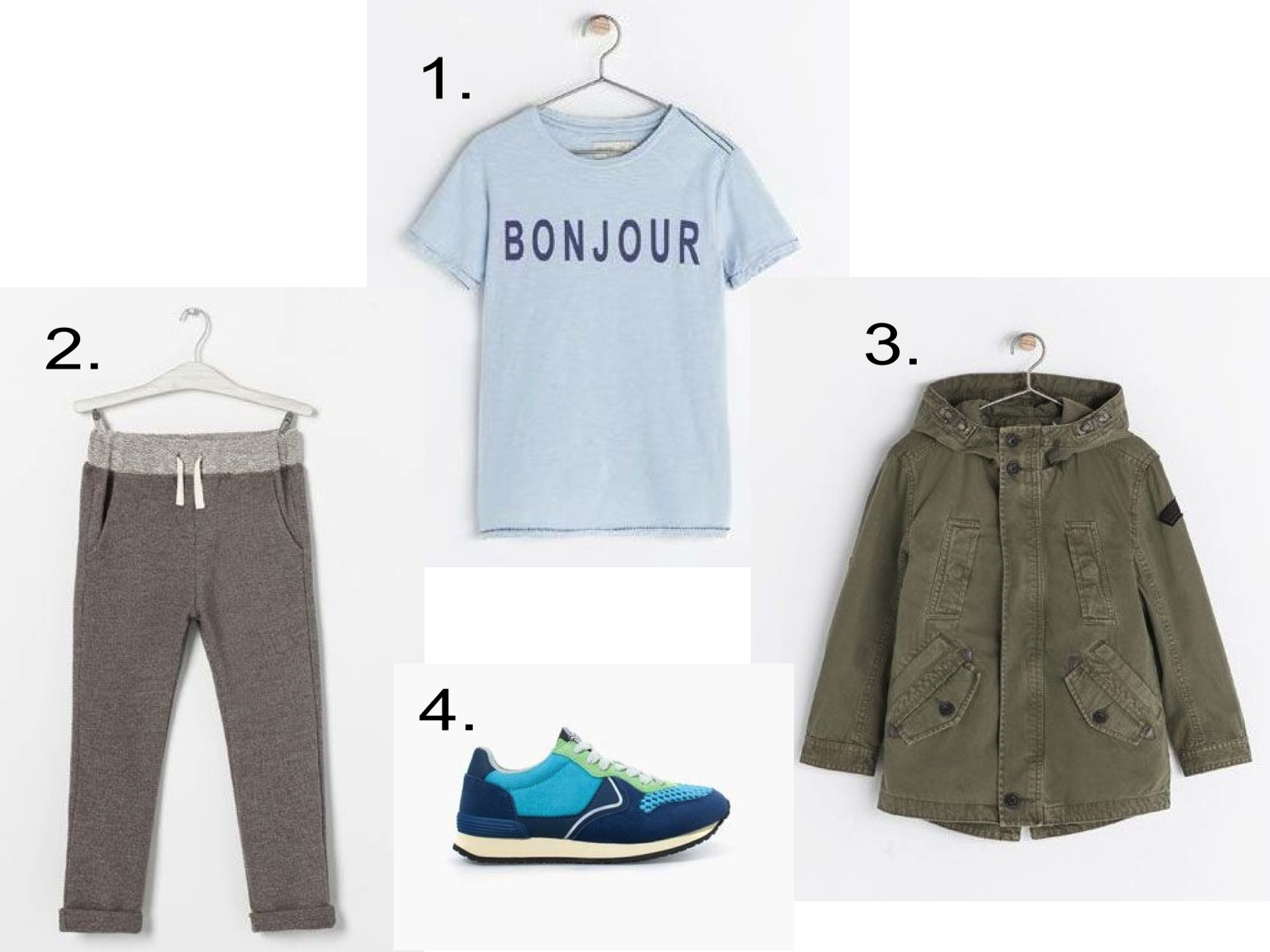 "These are the Slouchy Sweatpants I bought my son, Mario. I love them worn with a Statement Graphic Tee, Parka, and Comfy Sneakers.  1.  ""BONJOUR"" T-SHIRT""  