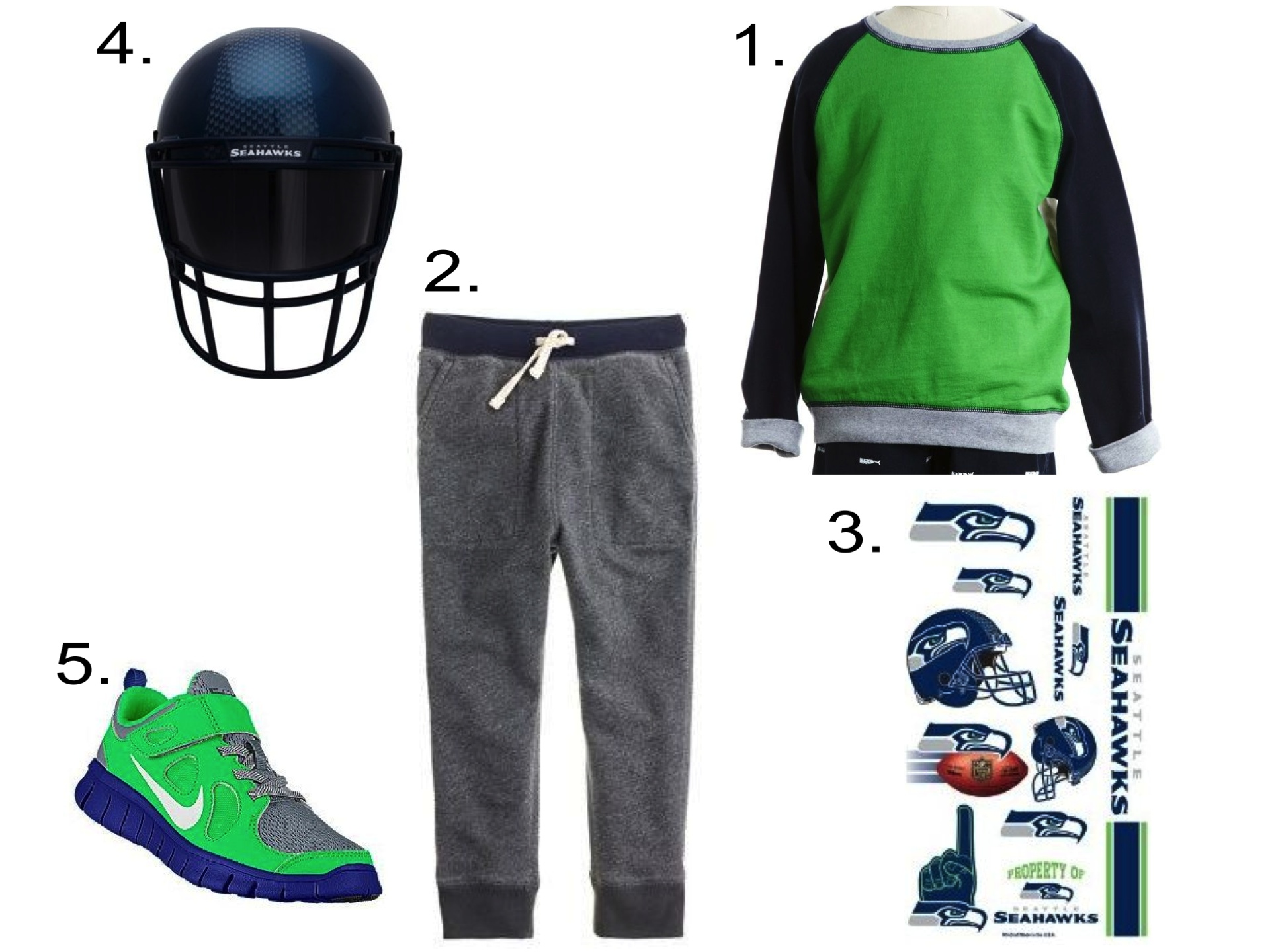 And Cool Little Seattle Seahawks Fans will Love this Colorblock Sweatshirt with Slouchy Sweatpants in their Favorite Team's Colors. A Pair of Nike Free Sneakers is the perfect shoe to complete this outfit (I customized these with Seattle Seahawks' Team Colors). Your little ones will have fun covering themselves with Seattle Seahawks Temporary Tattoos and wearing this Seattle Seahawks FunMask!  1. Peek…  Colorblock Crew  | 2. J.Crew  Boys' Slim Slouchy Sweatpants  |3.  Seattle Seahawks Temporary Tattoos  | 4.  Seattle Seahawks Funmask  | 5.  Nike Free 5.0 ID Customized Sneaker