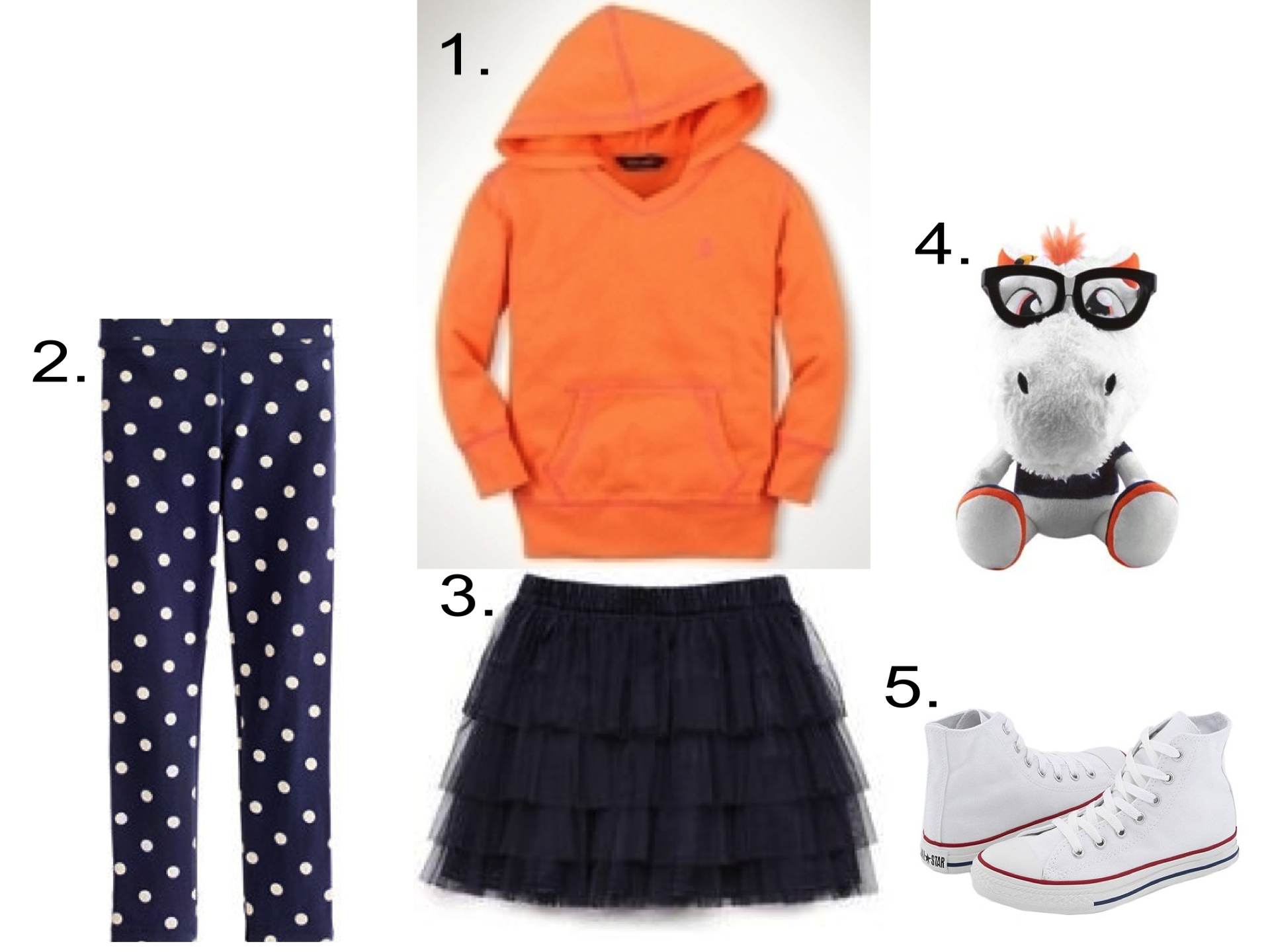 For Darling Little Denver Broncos Fans I love a Hoodie worn with a Tiered Tutu and Polka Dot Leggings in her Favorite Team's Colors. Since I like mixing Girly with Tomboy, these Converse High Tops are perfect to complete her Game Day Outfit.She will Love this Plush Team Mascot with nerdy glasses (very trendy and geek chic!)  1. Ralph Lauren  Contrast Cover Stitched Hoodie | 2. J.Crew  Girls' Everyday Leggings |3. Forever 21  Fancy Tulle Skirt  |4.  Denver Broncos Mascot Study Buddy  |5.Converse All Star® Core Hi Top