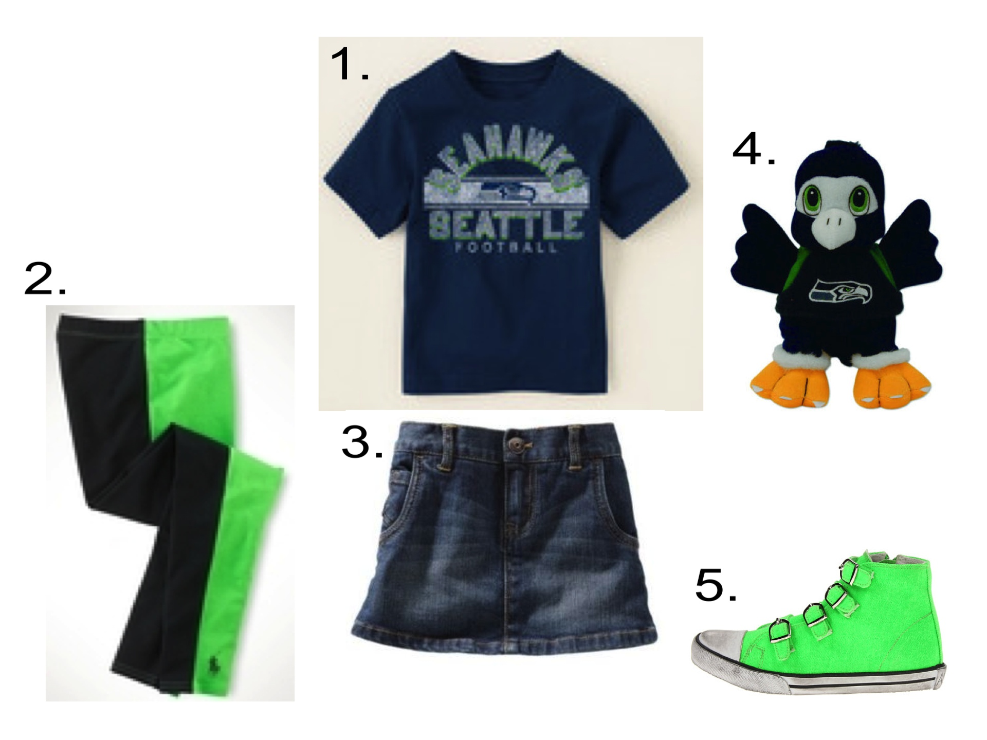 For Sporty Little Seattle Seahawks Fans, I Love a Seattle Seahawks T-Shirt worn with the Genuine Article: OshKosh B'Gosh Denim Skirt and Colorblock Leggings. To complete her Game Day Outfit, these Buckle High Tops are the perfect mix of Girly and Tomboy, and don't forget her Favorite Teams Plush Mascot!  1.  Seattle Seahawks Graphic Tee  |2. Ralph Lauren  Coming & Going Legging  |3. OshKosh B'Gosh  Denim Skirt  | 4.  Seattle Seahawks Plush Mascot Beanie | 5. Amiana  Canvas High Top Sneaker
