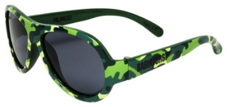 These  Babiators Kids Cool Camo Polarized Sunglasses  are the most stylish child-sized aviator sunglasses for adventurous and fashionable tots. Babiators sunglasses are made out of durable flexible rubber frames, offer 100% sun protection, and are coveted by celebrity kids and little hipsters.