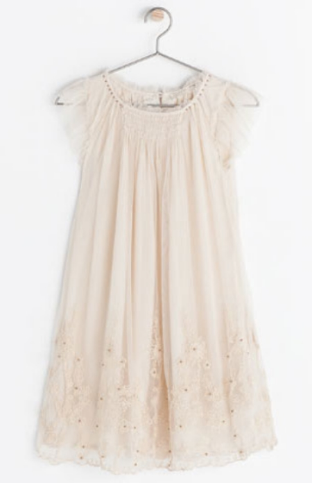 This  Zara EMBROIDERED DRESS is a beautiful nude pink color with delicate embroidery and beadwork.This Pretty Dress is made for a Princess.