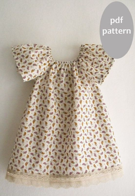 This  Girls Peasant Dress Pattern Tutorial from KokoPattern on Etsy is the perfect DIY party dress.With its Flutter Sleeves, this pattern is very similar to several of the dresses above.You can use the Pretty Dresses above as inspiration, and you can make your Little Darling her favorite Dress in a print you pick out together or an eyelet or lace fabric and then finish it with lace or tassel trims.