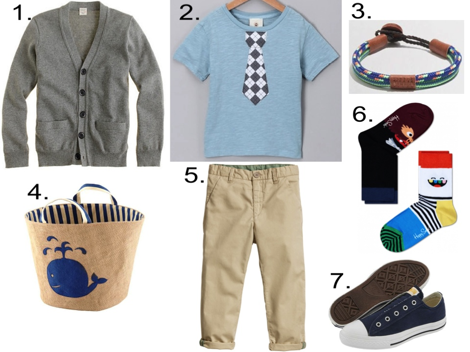 "Boy's Easter Egg Hunt Outfit  1.  J.Crew COTTON-CASHMERE CARDIGAN  | 2.  Million Polkadots ""Justin Tie""  