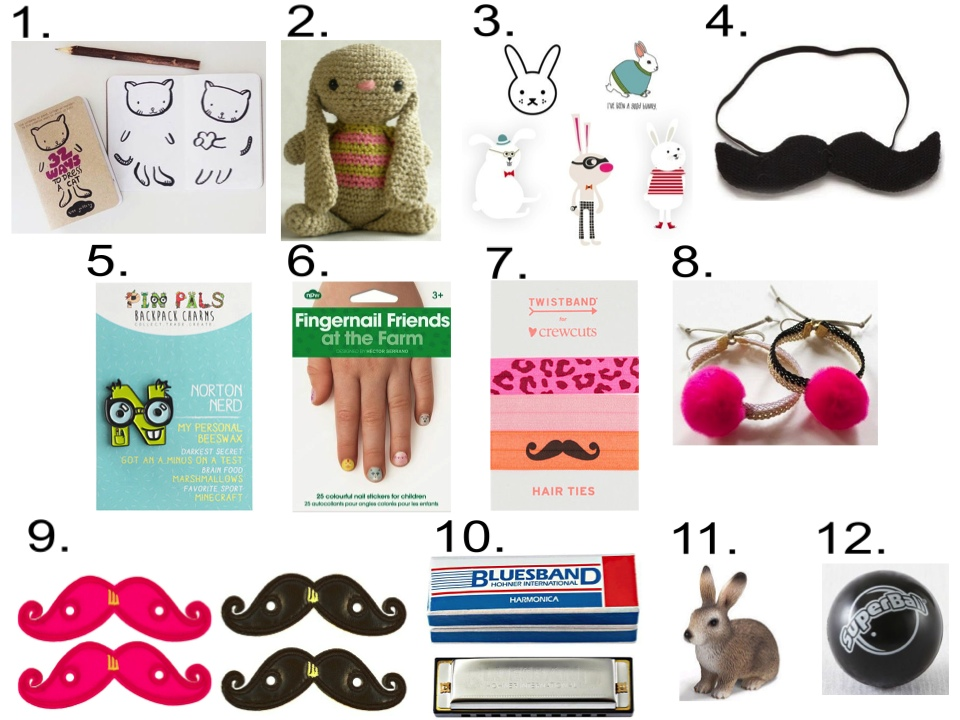 Easter Basket Goodies  1.  WeeGallery Dress Up Activity Book  | 2.  MillieFern Crochet Cotton Bunny  | 3.  Tattly Bunny Temporary Tattoos  | 4.  Oeuf GIANT MUSTACHE  | 5.  J.Crew KIDS' PIN PALS™  | 6.  Fingernail Friends at the Farm  | 7.  J.Crew TWISTBAND® ELASTIC HAIR BAND  | 8.  ATELiER ATSUYO ET AKiKO BRACELET  | 9.  Shwing Shoe Moustache Neon Pink  &  Black  | 10.  Harmonica at The Land of Nod  | 11.  Schleich Wild Rabbit  | 12.  Super Ball at The Land of Nod