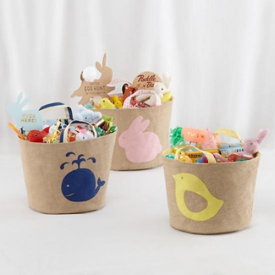 The Land of Nod's Naturally Neat Jute Bin would be perfect for storing baby blankets or toys after you use it as an adorable Easter Basket. Available in Three Styles;  Chick ,  Bunny , and  Whale