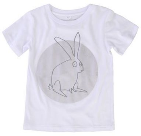 This  Stella McCartney ARLO T-SHIRT  is a super soft organic cotton t-shirt in cream with an Easter Bunny and silver metallic disc Graphic. This is a Trendy Easter Graphic T-Shirt that is cute for a boy or for a girl.