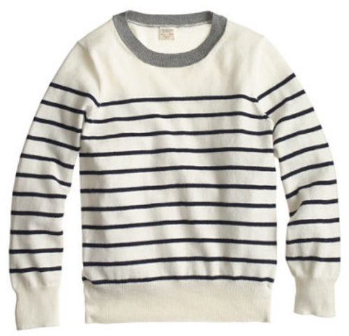 This  J.Crew BOYS' COTTON-CASHMERE NAUTICAL-STRIPE SWEATER is a supersoft, lightweight layering piece in J.Crew's Signature Stripes. This is a lux light weight Sweater for your little one.