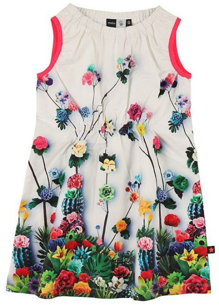This  Molo Spring Floral Dress  is a sleeveless white dress with a bright, fresh and summery Flower print.