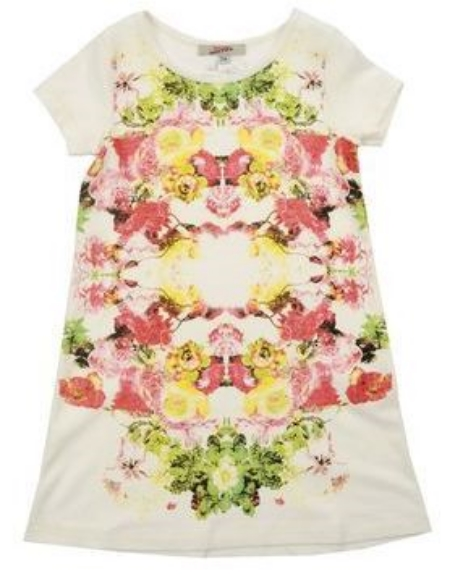 This  JUNIOR GAULTIER Dress is in jersey and has a placed Floral design, round collar, and short sleeves. This is an adorable Spring Floral Dress.