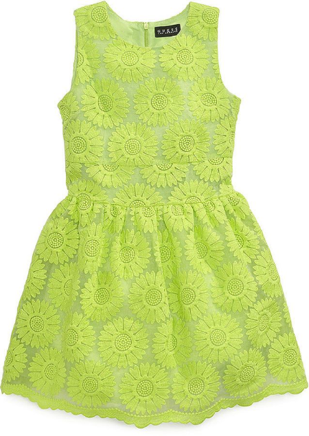 This  GUESS Schiffli Lace Dress is a chic lace dress in an allover floral embroidered lace.