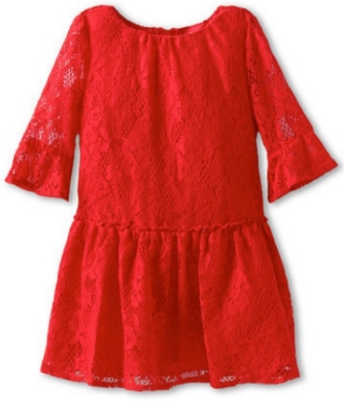 This Juicy Couture Lace & Tulle Dress is an exquisite Lovely Lace Dress with three quarter length bell sleeves.