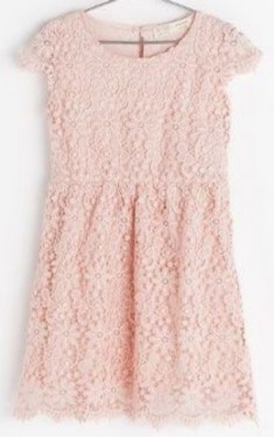 This  Zara DRESS  is a pretty, pastel pink Lovely Lace Dress that would be a perfect Easter Dress for your little princess.