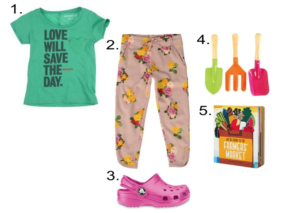 1. IMPS&ELFS T-shirt |2.  Stella McCartney EMILIE TROUSERS |3.  Crocs Kids' Original Classic Clogs |4.  NYBG Kids' Garden Hand Tools |5. Chronicle Books We're Going To The Farmers' Market