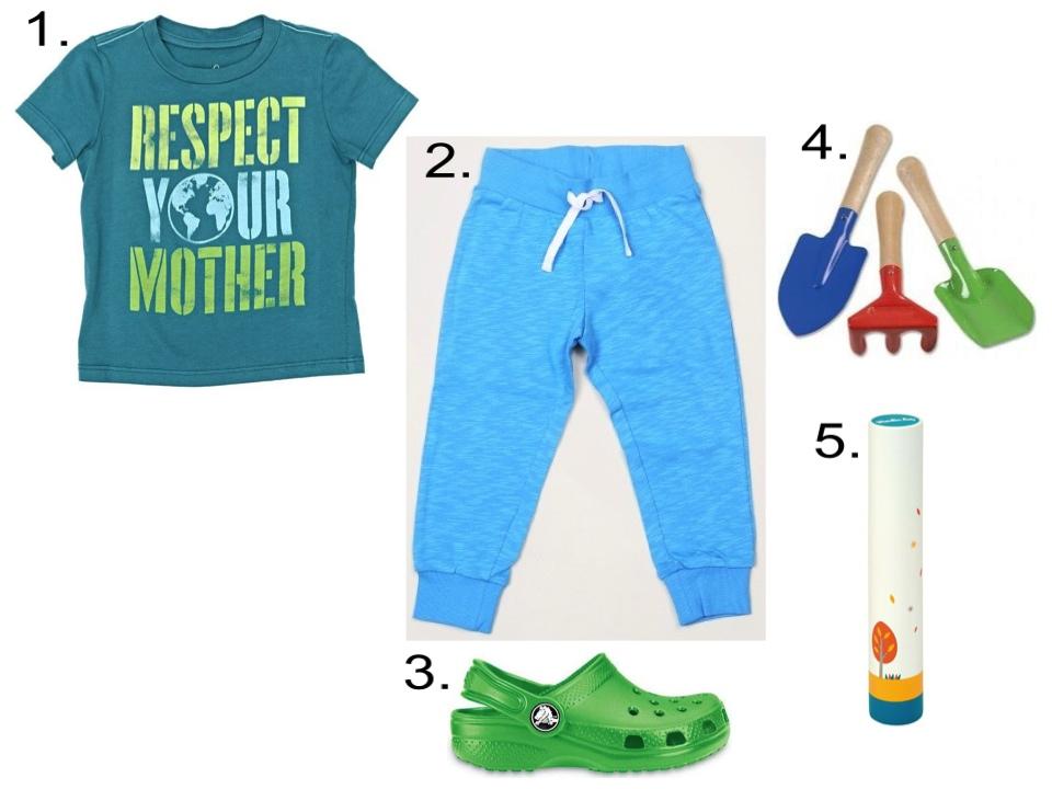 1.  Peek...Respect Your Mother |2.  Mini Rodini FRENCH TERRY SWEATPANT  |3.  Crocs Kids'Original Classic Clogs |4. Toysmith Kid's Garden Tool Set |5. Moulin Roty Rainstick Toy