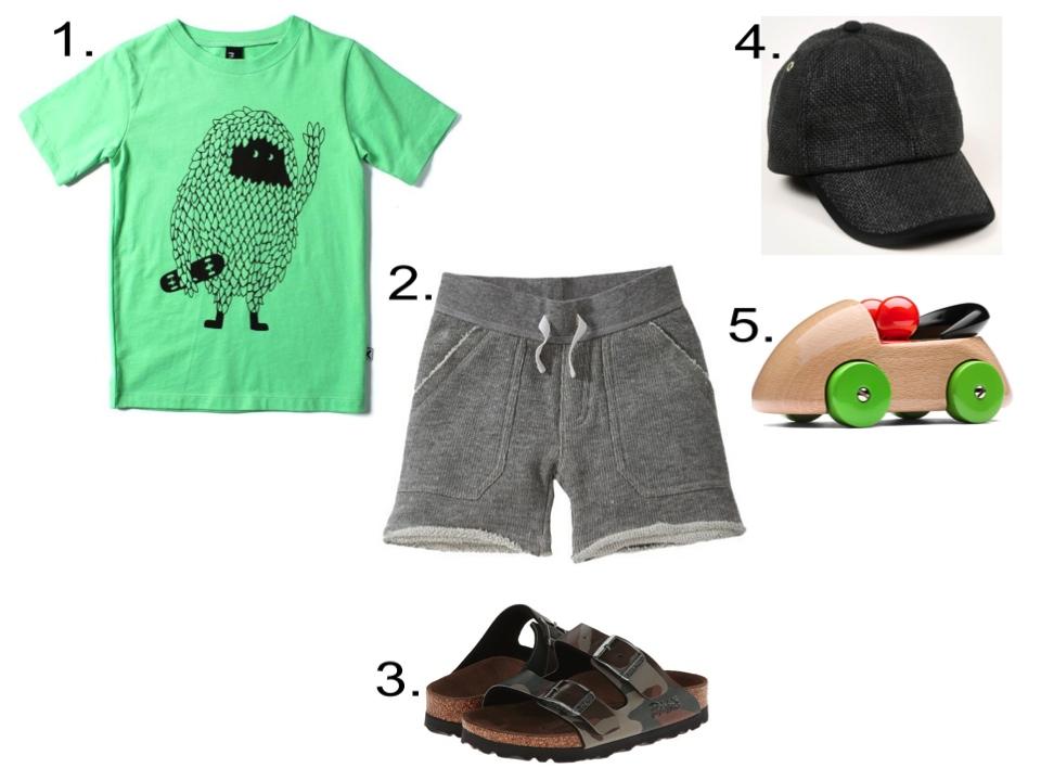 1. Minti Leaf Man Tee  | 2. Burts Bees Board Short  |3. Birkenstock Kids Santiago  |4.  Mini Rodini Straw Cap  |5. Playsam Streamliner Organic Car