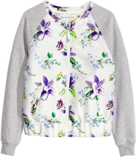 This  H&M Baseball-style Jacket is in shiny, woven fabric with pretty purple floral print and has raglan sleeves in sweatshirt fabric.It also has a zip and welt pockets at front, elasticized hem, and ribbed cuffs.