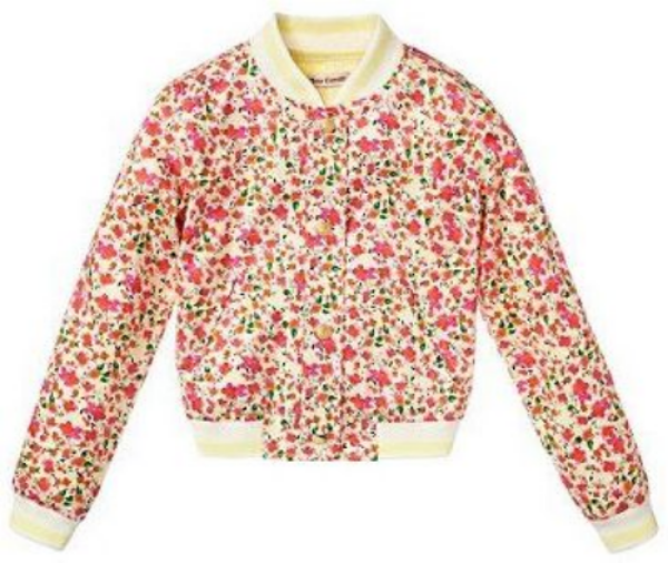 This  Juicy Couture GIRLS FLORAL PRINT BOMBER JACKET is baseball chic! Your little princess will look so cute in this Floral Printed Bomber with its banded collar, 4 button closure, slit pockets, and rib trim at cuffs and hem.