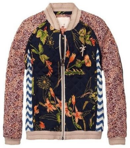 This  Scotch & Soda Kids Quilted Patchwork Jacket  takes Printed Bomber Jackets to the next level with on-trend, tropical print mixing and quilted patchwork.It has a short bomber fit, raglan sleeves, zipper closure and cuffed waistband.