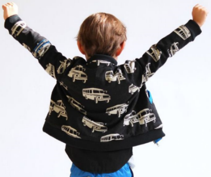 This  Study Hall Jacket By Andrea Pannell for Go To Patterns is a fun Bomber style jacket for boys and girls.It is an intermediate to advanced PDF sewing pattern with raglan sleeves. Use a medium weight rib knit for the collar, waistband and cuffs and pick out a fun Print for your little one!