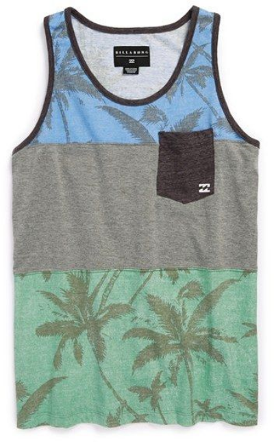 This  Billabong La Palma Tank adds a dose of laid-back cool to your little ones seasonal style with this stylin' tank. It has a pocket at left chest, with Billabong logo at the pocket and has palm tree print at top and bottom panels.