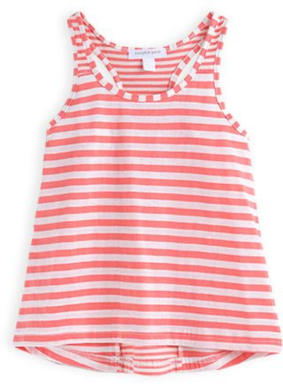 This  Pumpkin Patch striped racerback swing tank is a cute 100% cotton Striped Tank Top with a smaller stripe pattern pieced down the back.