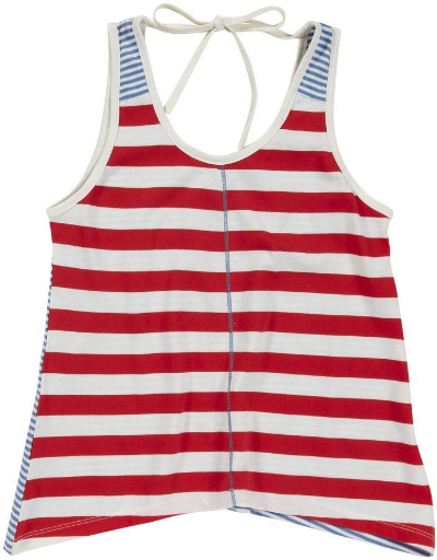 This  Pink Chicken Striped Anna Top will sure to be one of your little princesses favs!This tank was designed with lots to love.. handkerchief hem and tie at neck, along with contrast seam detail on front and wide stripes on front with narrow stripes in contrast color on back.