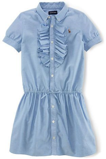 This  Polo Ralph Lauren Oxford Shirt Dress  is a preppy cotton oxford Shirtdress with signature Polo embroidered pony and is updated with ruffled trim and a bow at the waist.