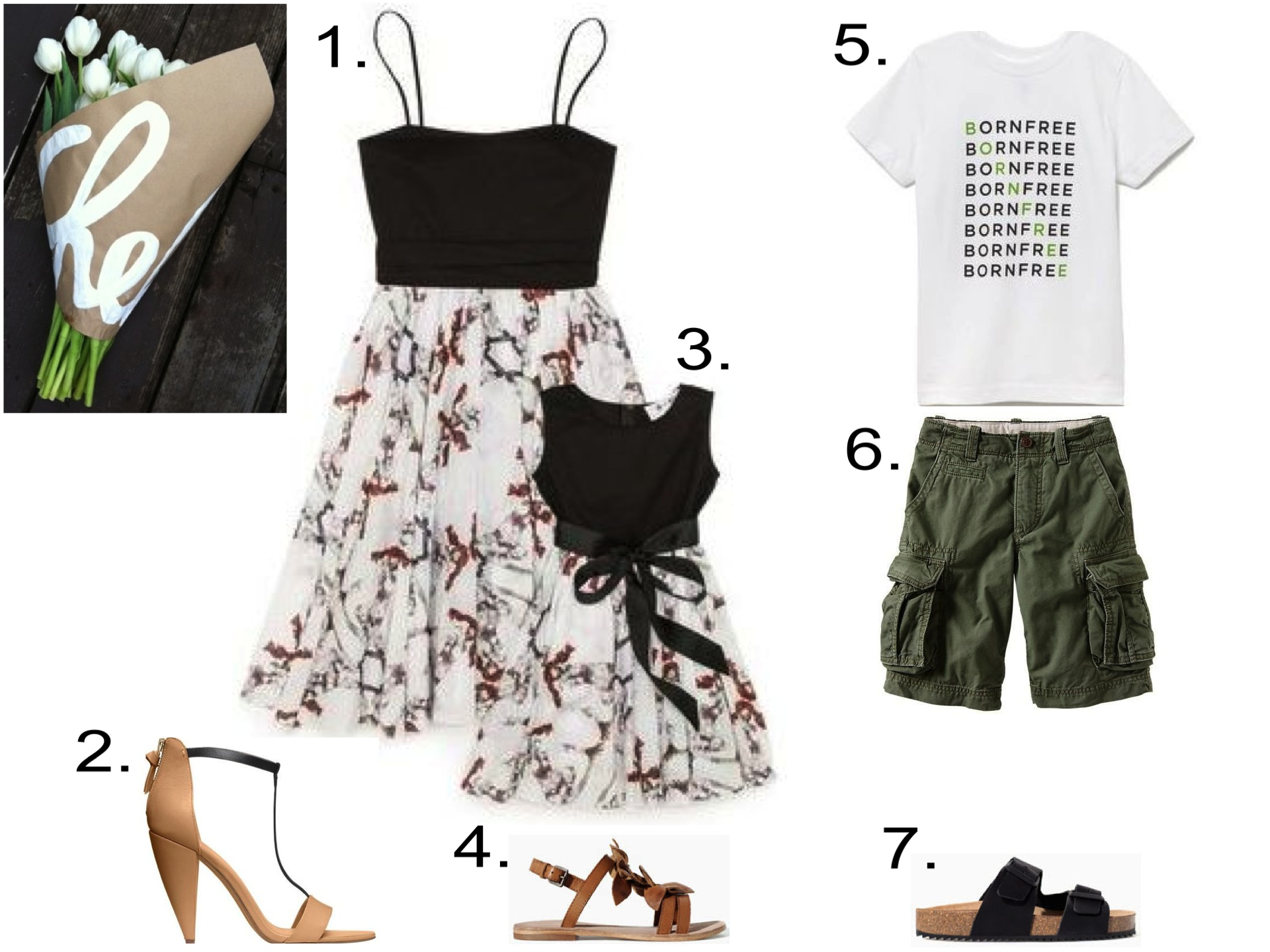 Shopbop + Born Free...  1. Born Free Marchesa Party Dress | 2.  Kate Spade Saturday TWO-TONE T-STRAP SANDALS  |3. Born Free Marchesa Child's Party Dress  |4.  Zara LEATHER SANDAL WITH FLOWERS |5. Born Free Born Free Child's Tee  |6.  GAP Cargo shorts |7.  Zara SANDAL WITH BUCKLES