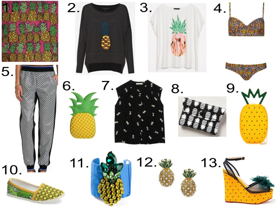 Pineapples for you!...  1. ANNA CORONEO Scarf |2.  French Connection Jumper  |3.  Zara T-Shirt | 4.  TOPSHOP Bikini | 5. CLOVER CANYON Pants | 6. ASOS iPhone 5 Case  |7. Sessùn Shirt  |8.  Falconwright Cardholder |9. Charlotte Olympia Acrylic Shoulder Bag |10. DV8 by Dolce Vita Slip-On |11. STELLA JEAN Cuff |12.  TOPSHOP Earrings | 13. Charlotte Olympia Wedge