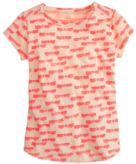 This  J.Crew GIRLS' NEON BOW TEE is covered in lots of little Bows inspired by one of J.Crews designer's favorite stamps.