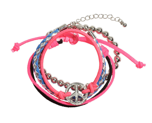 This  H&M 4-pack Bracelets are in various colors and styles. One in braided imitation leather, one in imitation suede, one elastic bracelet with plastic beads, and one elastic bracelet with a metal peace charm.