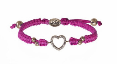 """This  Rolf Bleu Girl's Aubrey Heart Bracelet says """"I Love You"""" with a beautiful rhinestone-adorned heart charm, is dipped in 18k gold and has a quality, handwoven cording with signature branded slider."""