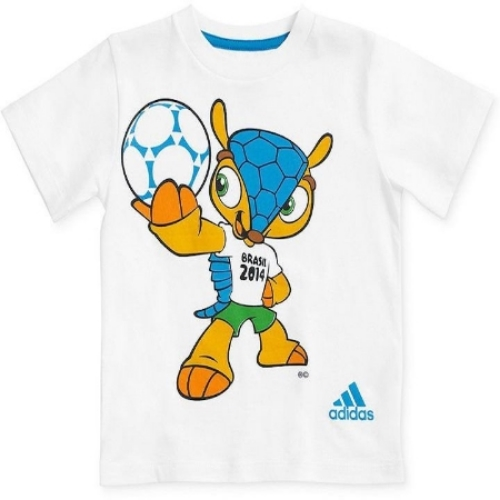 """This  adidas Little Boys' Fuleco Tee has the 2014 FIFA World Cup official mascot """"Fuleco"""" graphic printed on the front. Your little one can show his/her love of soccer and the World Cup with this cool graphic tee from adidas."""
