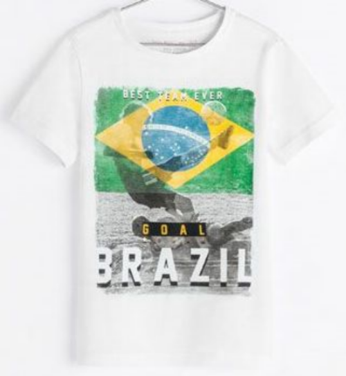 """This  Zara """"BRAZIL"""" T-SHIRT has a """"Best Team Ever.. Brazil"""" printed graphic on the front. This is a cool T-Shirt for your little one to show pride in the host country Brazil."""