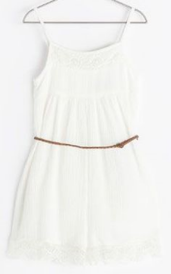 This  Zara JUMPSUIT WITH BACK DETAIL has pretty embroidery at the bodice yoke and lace trim at the leg openings.It also has a braided natural tie at the waist for a stylish fit.