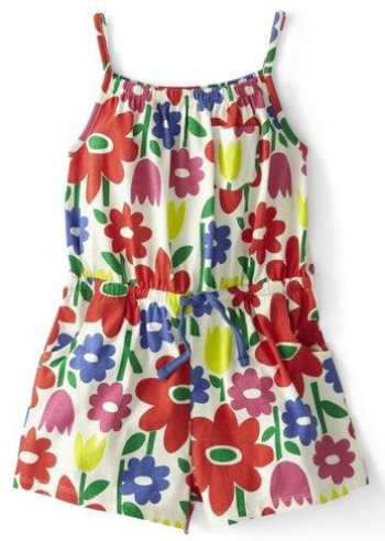 This  Boden Jersey Playsuit will have your daughter ready for warm-weather adventure in this cute cotton Romper cinched with an elastic waist for a cute fit.