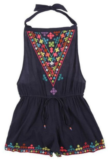This  STAR MELA Suzie Emb Bodysuit  is in a light weight cotton with tie straps, elastic waist, and beautiful colorful embroidery.It has a loose fit with tie at waist for comfortable fit.