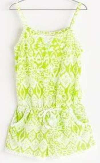 This  Zara ETHNIC PRINT JUMPSUIT is in a fun lime green ikat print with cotton lace trim at neck, pockets edges and leg openings.It also has a drawcord trimmed with tassels and lime green thread at the waist for a cute fit.