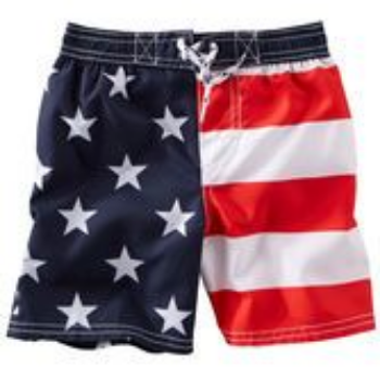 These  OshKosh B'Gosh FLAG PRINT SWIM TRUNKS announce your little one is ready for Independence Day in these red, white and blue trunks. Screen printed with stars and stripes, these trunks are perfect for a festive pool party.